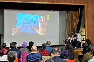 区民大学講座「大野隆司氏が語る木版画の魅力」制作風景